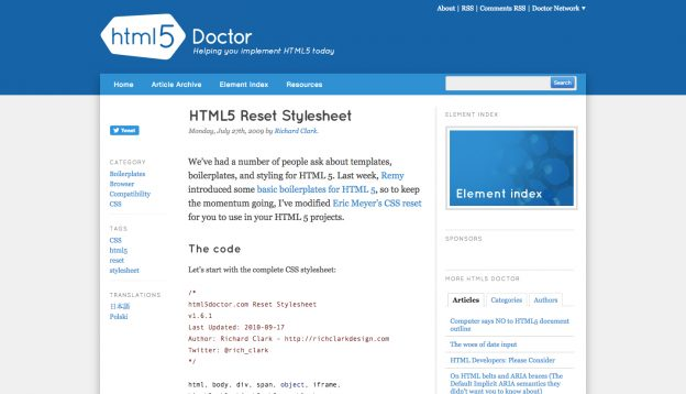 HTML5 Doctor CSS Reset